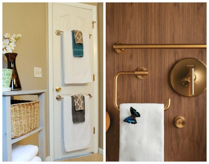 На двери в ванной можно установить всевозможные крючки и держатели.