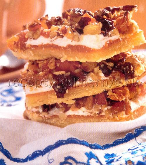 Пирожные с орехами и сухофруктами.