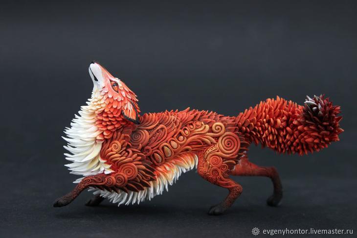 Процесс создания лисы из бархатного пластика