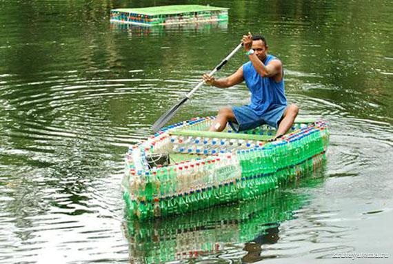 Лодка своими руками с бутылок фото