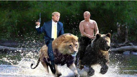 Решили Путин и Трамп в знак огромного доверия друг к другу секретаршами поменяться