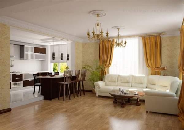 Интерьер кухни студии, совмещенной с гостиной в частном доме