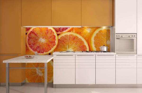 Фотообои в интерьере кухни - дизайн с фруктами