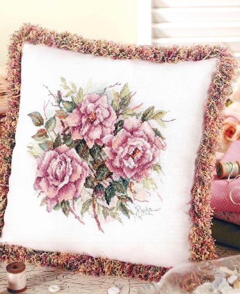 """Вышивка крестом — подушка с вышивкой """"Букет роз""""(схемы)"""