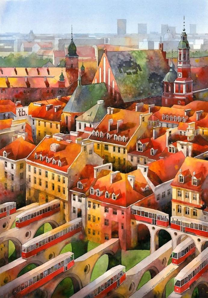 Варшава 19-го века, воскресшая на акварелях современного польского художника