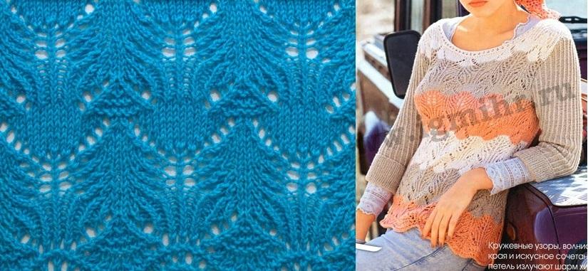 Ажурный пуловер спицами с красивым узором
