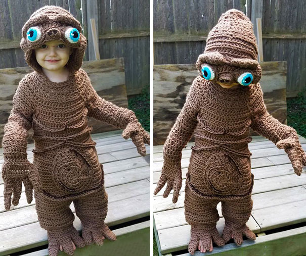 Mom Crochets E.T. Costume For Her Son, And Does It Freehand!