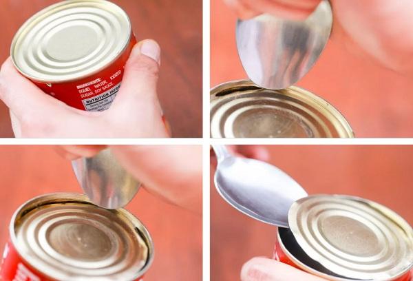 Как открыть консервную банку с помощью ложки