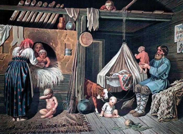 Новорожденного теленка вносили в избу, к печке./Фото: img-fotki.yandex.ru