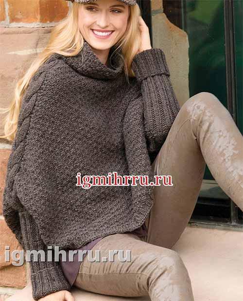 свитер-накидка с рельефной косой