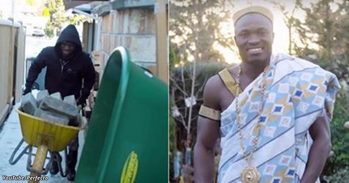 Африканский король работает в Канаде садовником. Чтобы собрать денег для народа!