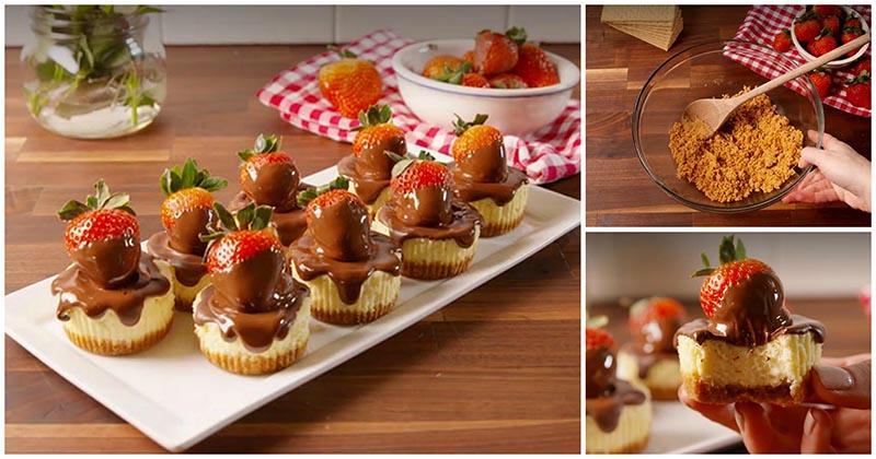 Шоколадно-клубничные мини-чизкейки — красивая подача и восхитительный вкус