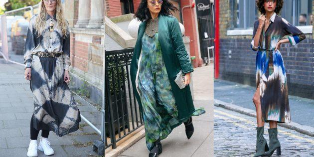 Модные платья осени 2019 в расцветке тай-дай