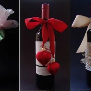 новогодняя упаковка бутылок в подарок на Новый год
