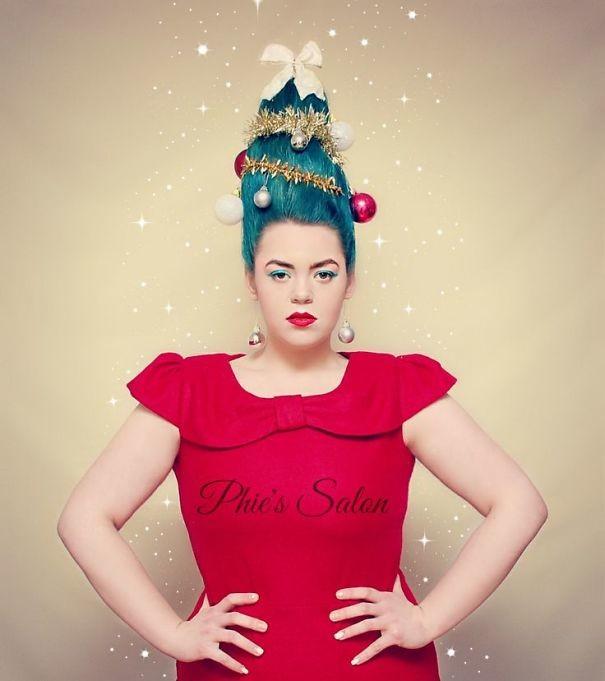 32. Голубая елка волосы, праздник, прическа, рождество