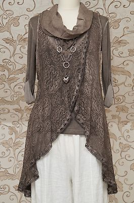 Stunning Chocolate Brown 2piece Tunic Dress Italian Lagenlook Layering Top OSFA | eBay: