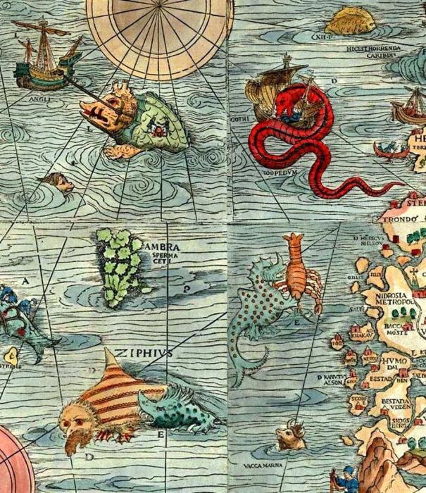 Морские чудовища, населяющие моря и океаны. Фрагмент карты Скандинавии, 1539 год. | Фото: npm.ac.uk.