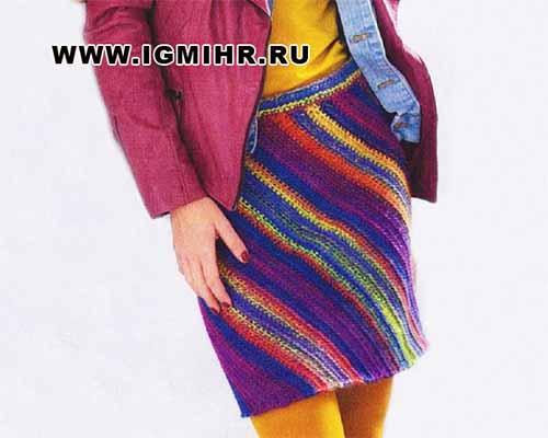 юбка с диагональными полосами