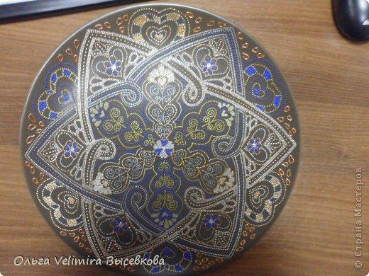 Декор предметов Роспись Тарелка Сердце Востока МК для начинающих Краска Стекло фото 16