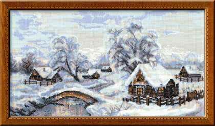 """Схема для вышивки """"Зима в деревне"""""""
