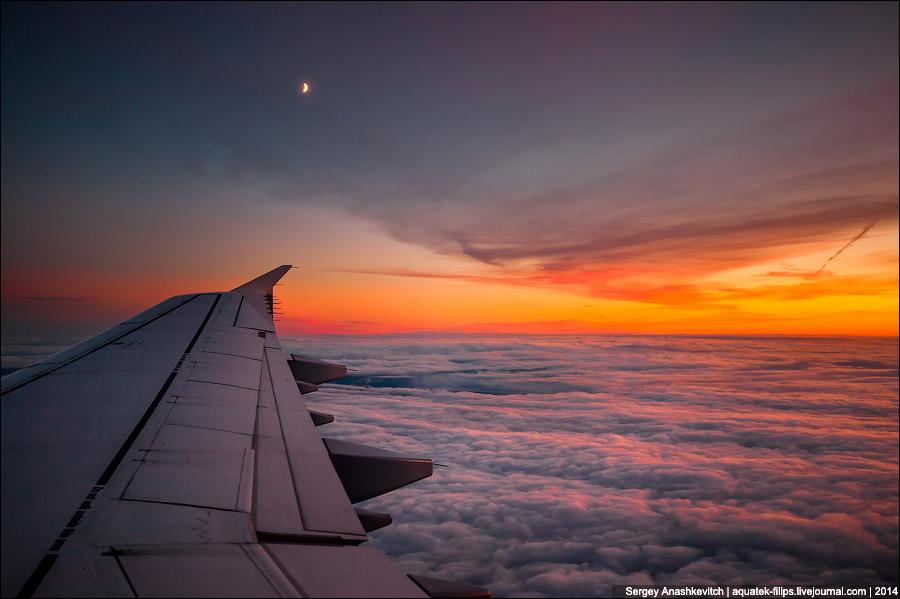 Закат на высоте 10 тысяч метров