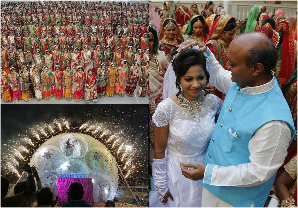 Сотни невест, выросших без отцов, связали себя узами брака в Индии