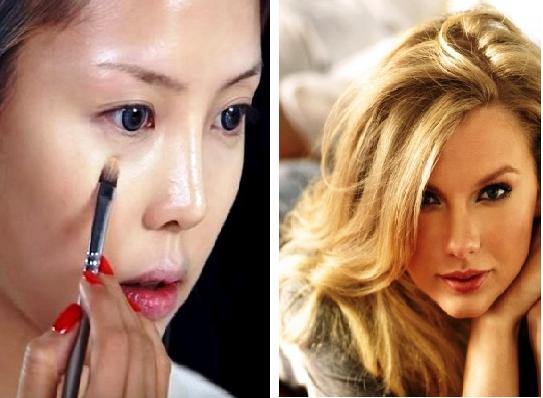 Поразительно —  мастер сумела... превратить себя в Тейлор Свифт, только с помощью искуссного макияжа!
