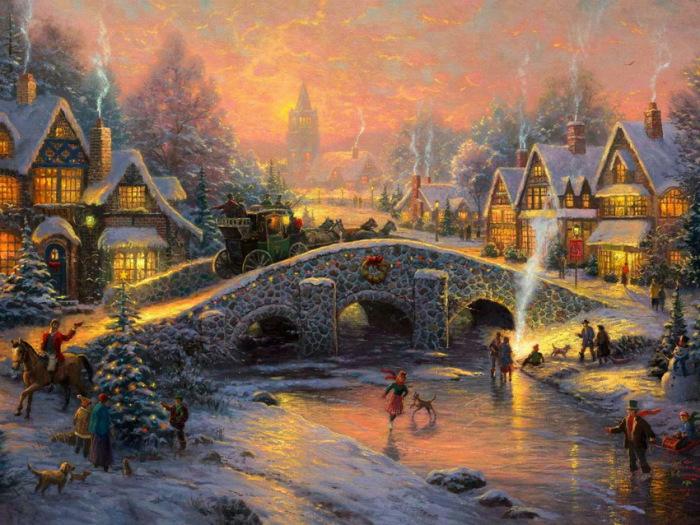 Новый Год приближается. Автор: Thomas Kinkade.