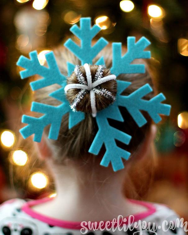 28. Снежинка волосы, праздник, прическа, рождество