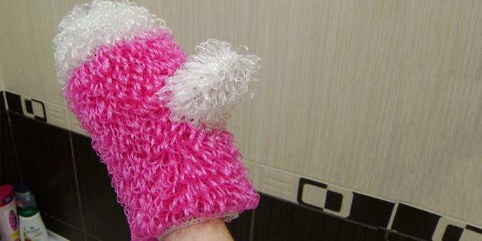 Связать мочалку рукавицу