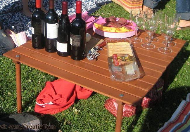 Простой раскладной стол для пикника своими руками