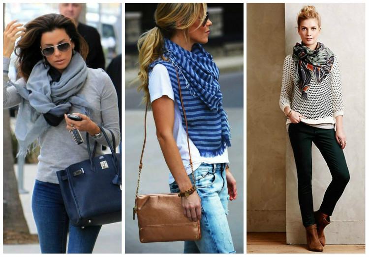 Стиль Casual для женщин, фото: аксессуары, шарфы