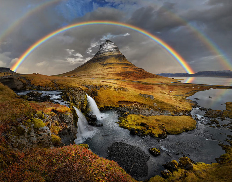 7. Радуга над горой Киркьюфелл виды, исландия, красота, фото