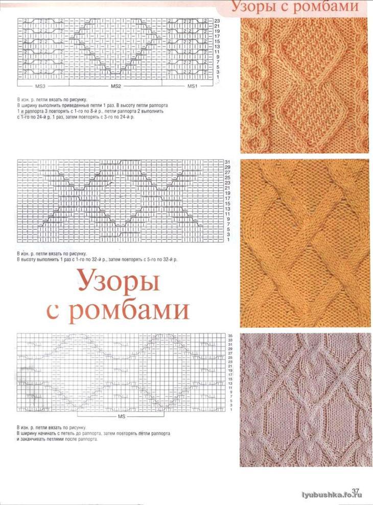 Рисунки из ромбов вязание схемы 189