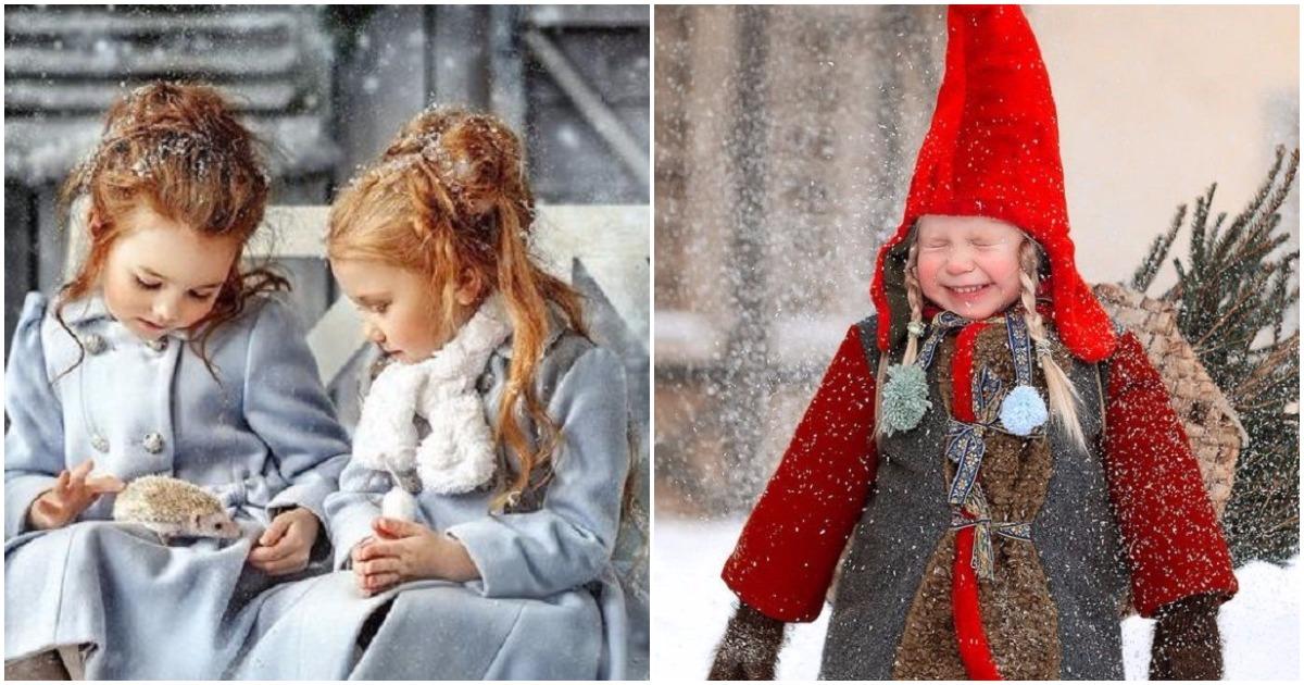 Новогодние сказки в Рождественских фотографиях детей