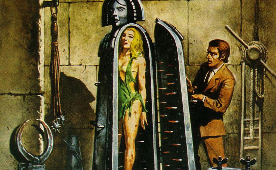Железная Дева Железный шкаф, внутренняя часть которого была утыкана железными шипами. Они размещались таким образом, чтобы поразить второстепенные органы жертвы, обрекая ее на медленную гибель в замкнутом помещении.