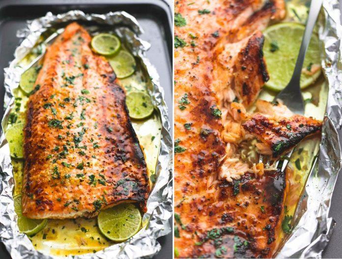 Запеченный лосось в медовой глазури с кинзой. Блюдо достойно похвал!