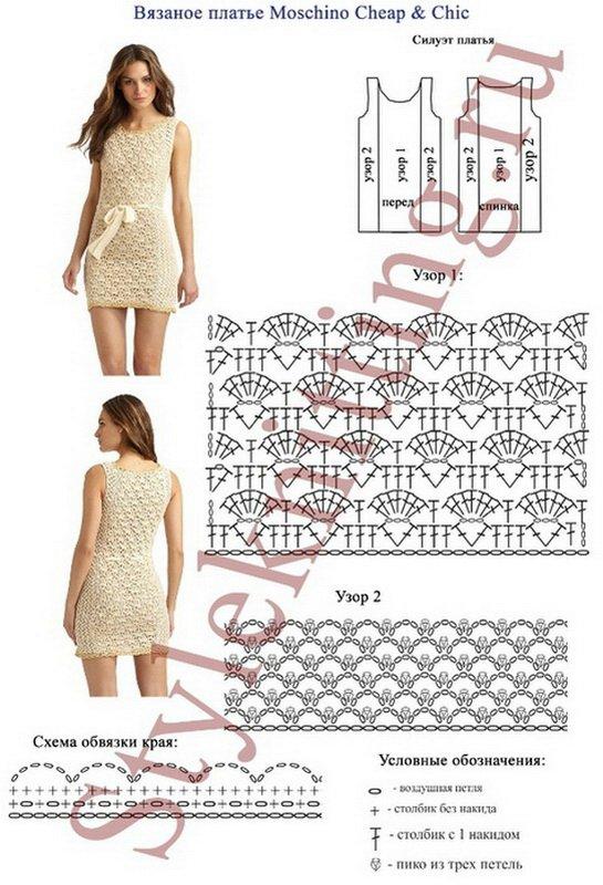Вязаные платья на лето спицами и схемы