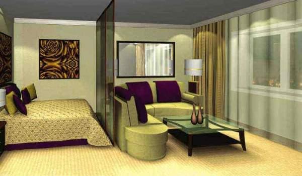 Интерьер гостиной спальни в частном доме в современном стиле