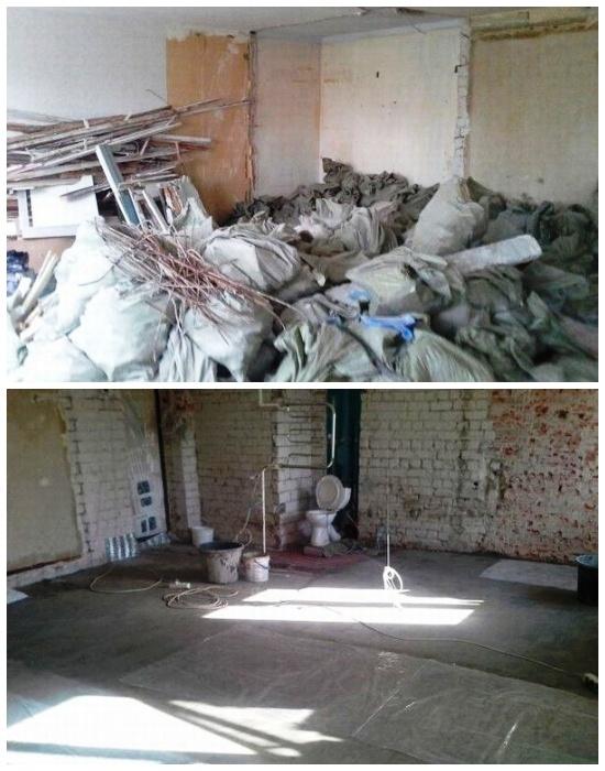 Для полной перепланировки было решено убрать все внутренние стены и гипсовые перегородки.