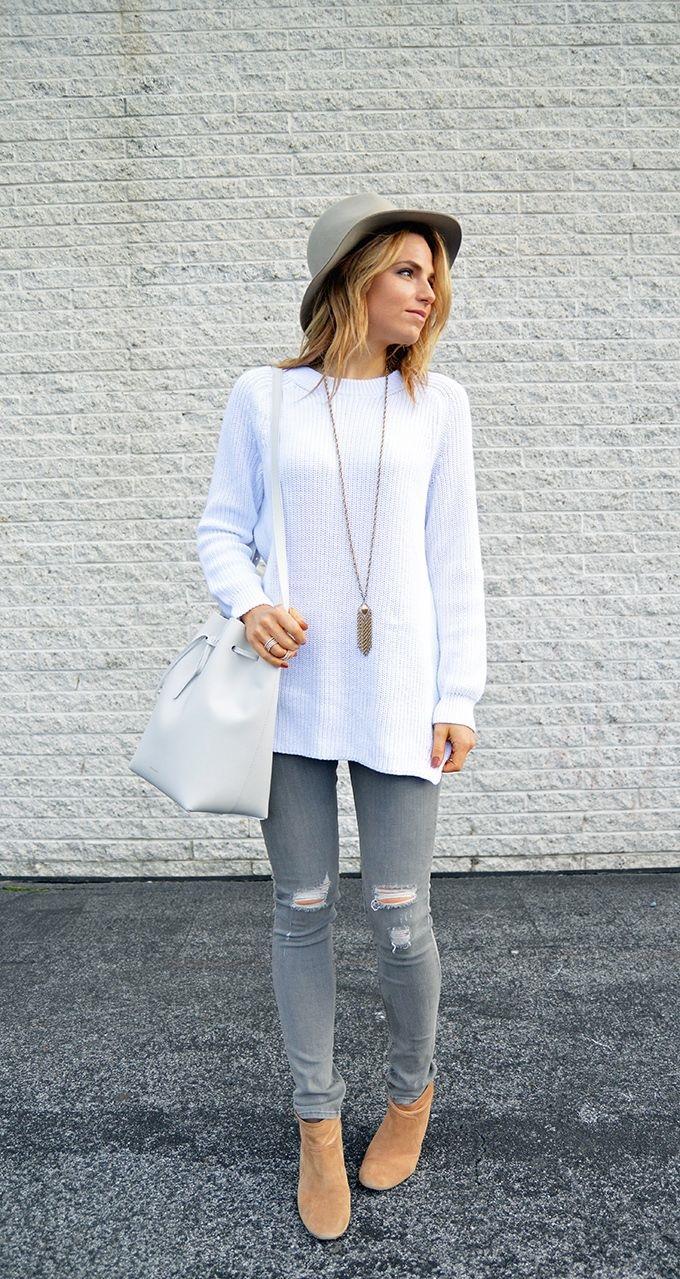 С чем носить серые джинсы: 32 стильных образа. Часть 2