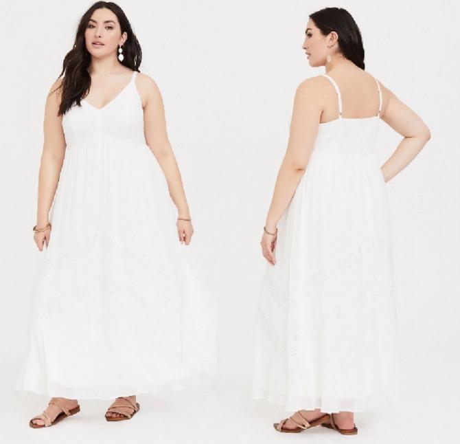 свободное белое платье на лето для полной девушки - длинное, на бретельках