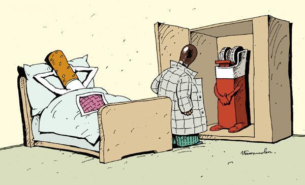 Жена прячет любовника в шкаф, не зная, что ее сын там