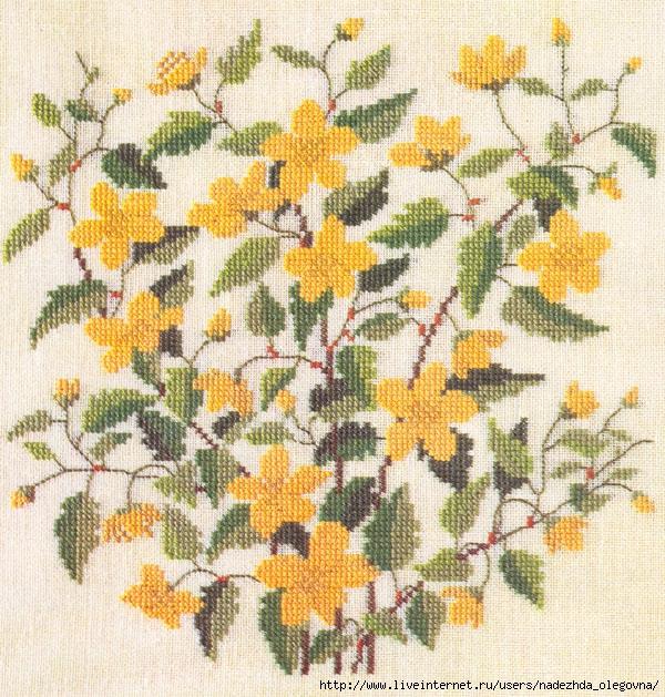 Ботаническая вышивка крестом — цветущие кустарники