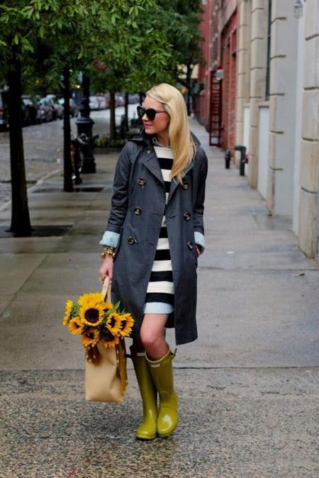 Стильные советы — с чем носить резиновые сапоги, фото