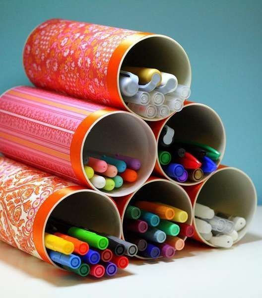 7. Если ребенок любит рисовать, то все художественные инструменты легко распределить по банкам идеи, картонная банка, рукоделие, своими руками, сделай сам, упаковка от чипсов