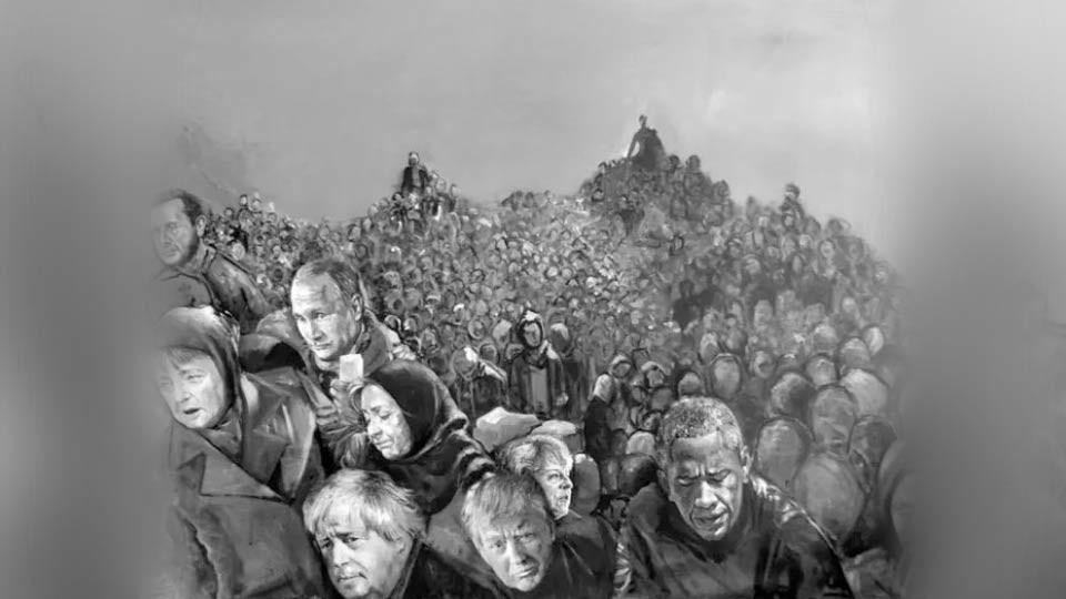 Художник из Сирии представил Путина, Меркель и Трампа в образе беженцев