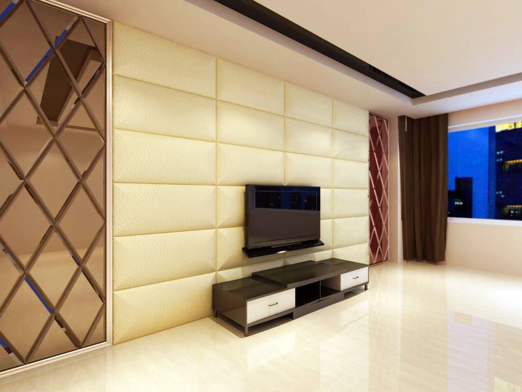 Оформление стены в гостиной тканью
