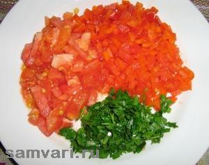 салат с помидорами и творогом