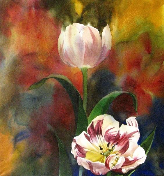 Цветы в живописи. Художник Alfred Ng